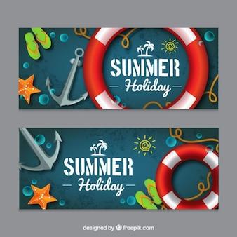 Sommer banner mit segelelemente