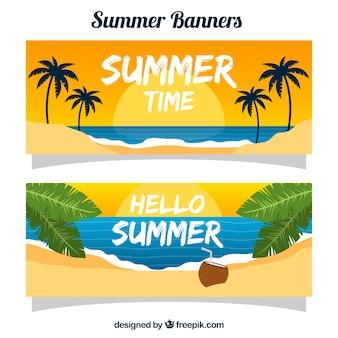 Sommer banner mit strand bei sonnenuntergang
