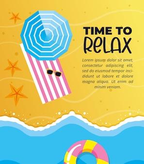Sommer-banner. strand mit sonnenschirm und handtuch. zeit zum entspannen
