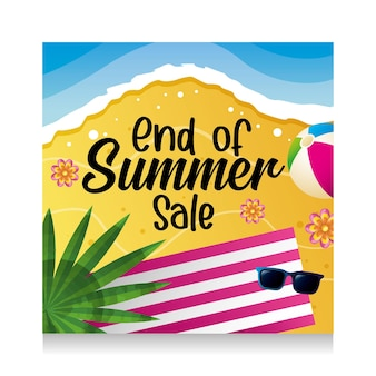 Sommer-banner. strand und meer. handtuch und sonnenbrille mit ball. ende des sommerschlussverkaufs