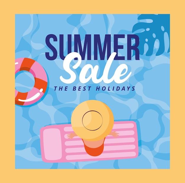 Sommer-banner-verkauf mit frau über schwimmerkarikatur