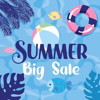 Sommer-banner-verkauf mit schwimmern und tropischen blättern cartoon