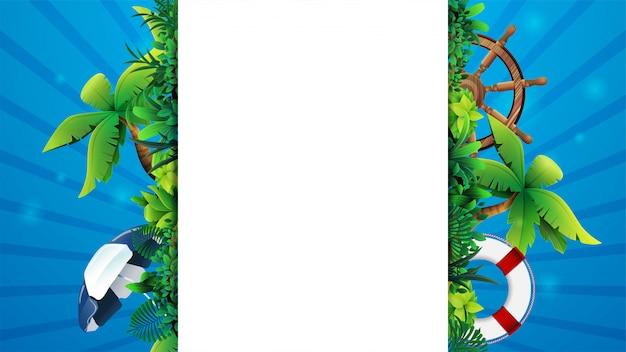 Sommer banner vorlage design mit einem weißen großen streifen für text in der mitte, sommerelemente und strandzubehör. leeres sommerlayout für ihre kreativität