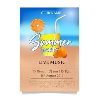 Sommer beach party poster mit saft am strand