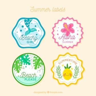 Sommer beschriftet sammlung mit natur