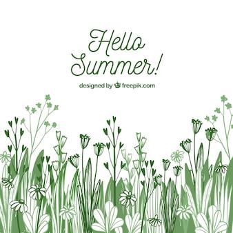 Sommer blüht gezeichnete art des hintergrundes des hintergrundes in der hand