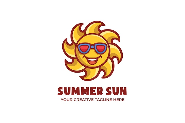 Sommer bright sun maskottchen logo vorlage