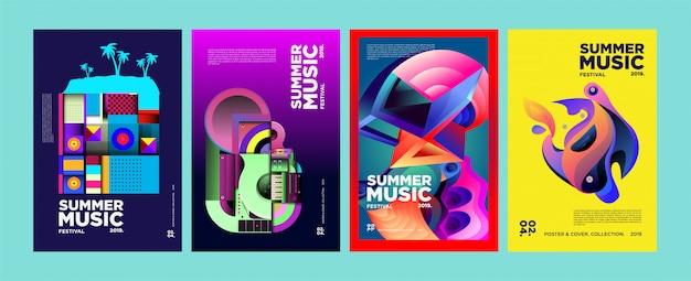 Sommer-buntes kunst-und musikfestival-plakat und abdeckung