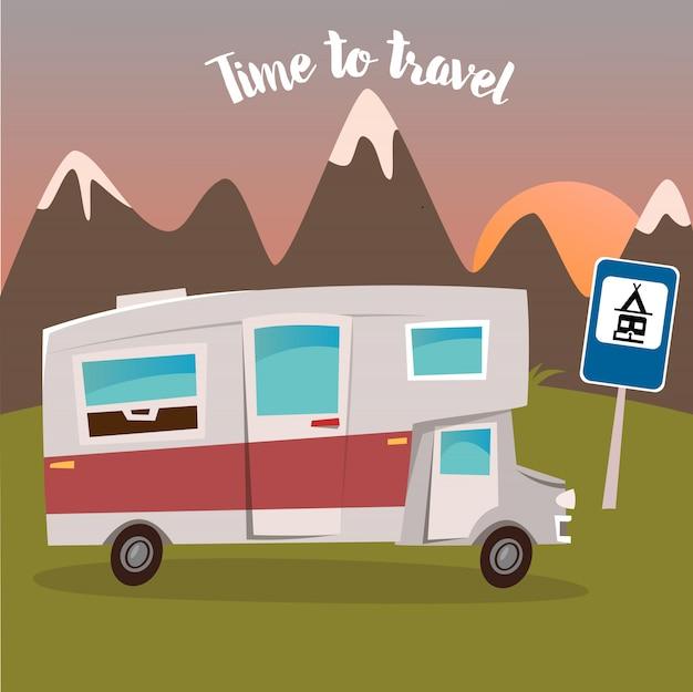 Sommer camp. mann und frau sitzen in der nähe des wohnmobils. zeit zu reisen. vektor-illustration
