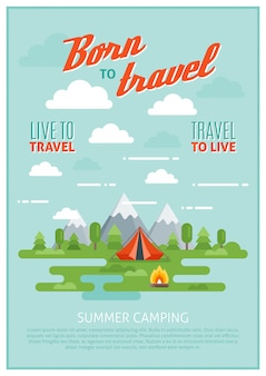 Sommer camping poster