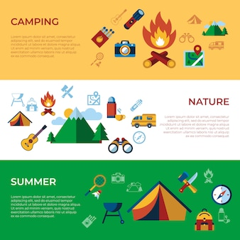 Sommer camping sport aktivitäten icons sammlung