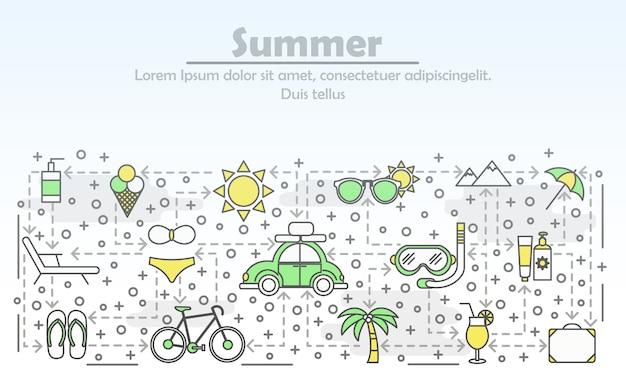 Sommer, der flache linie kunstillustration annonciert Premium Vektoren