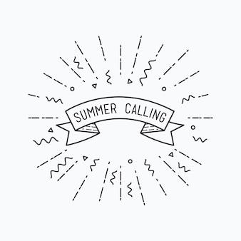 Sommer, der typografisches plakatdesign des vektormotivationszitats anruft