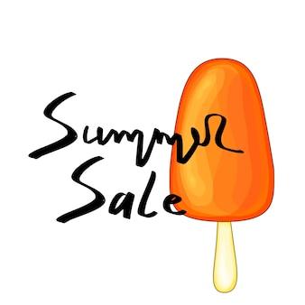 Sommer-design-aufkleber mit sommerelementen und handschriftwörtern. ideal für karten, flyer und web. vektor-creme.