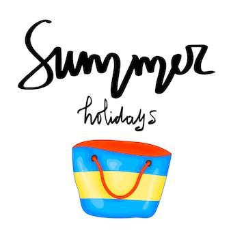 Sommer-design-aufkleber mit sommerelementen und handschriftwörtern. ideal für t-shirt-drucke, einkaufstaschen und shopper, stoffe, karten, poster und web. - vektor-strandtasche.