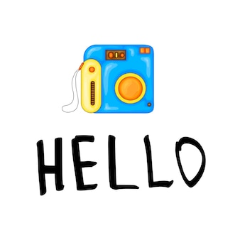 Sommer-design-aufkleber mit sommerelementen und handschriftwörtern. ideal für t-shirt-drucke, einkaufstaschen und shopper, stoffe, karten, poster und web. - vektorkamera.