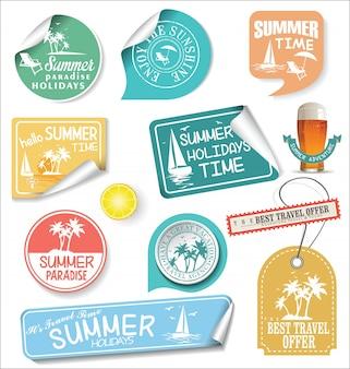 Sommer-design-etiketten und typografie-design-vorlagen