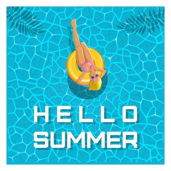 Sommer-design. hallo sommer. ein mädchen mit sonnenbrille schwimmt auf einem gelben aufblasbaren kreis. vektor-illustration