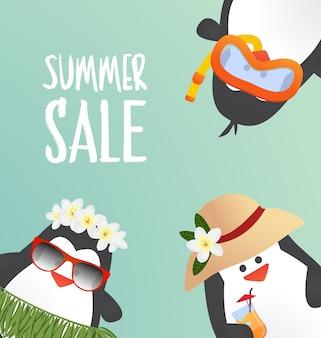 Sommer-design mit süßen pinguinen