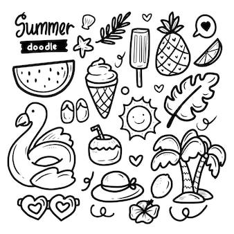 Sommer doodle aufkleber abstrakte sammlung großen satz
