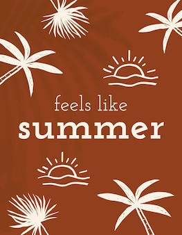 Sommer-doodle-vorlagenvektor fühlt sich an wie sommerzitat-social-media-banner
