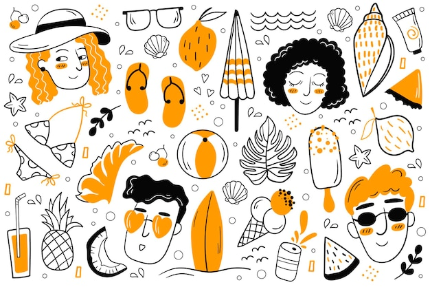 Sommer-doodles eingestellt. vektor-illustration. sommerset damenbekleidung, schuhe. meer, sonne, obst, essen, getränke.