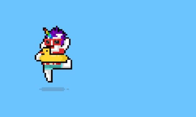 Sommer-einhorncharakter der pixelkunstkarikatur glücklicher