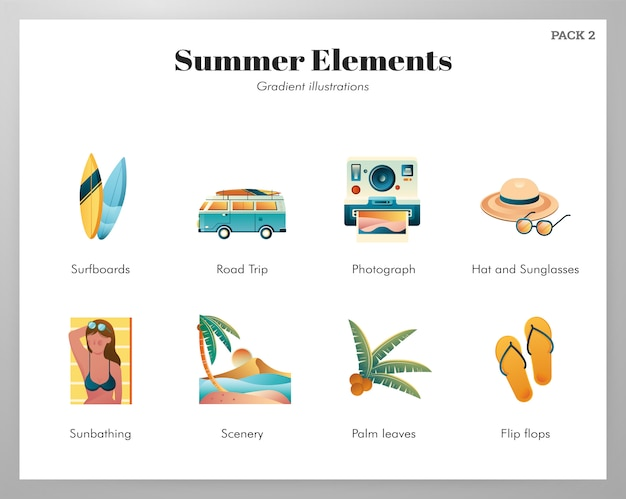 Sommer-elemente-icon-pack