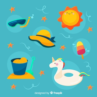 Sommer-elementkollektion im kawaii-stil