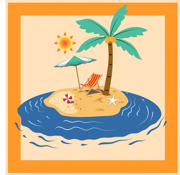 Sommer entspannen sie sich strandparadies kokosnussbaum-meerinsel zwischen sonnenlicht