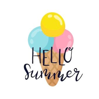 Sommer-etiketten-logos handgezeichnete beschriftung mit sommereis