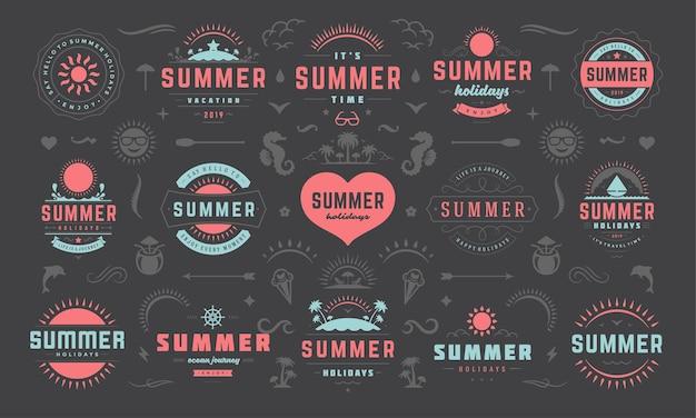 Sommer etiketten und abzeichen design-set
