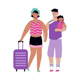 Sommer familienausflug - touristenpaar mit kind in den urlaub fahren