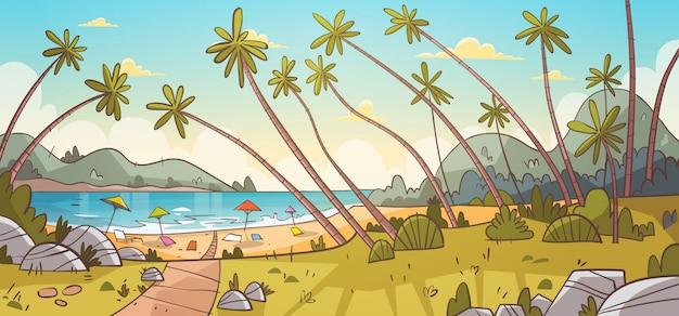 Sommer-ferien-ruhesessel auf seestrand-landschaftsschöner meerblick-fahnen-küsten-feiertag