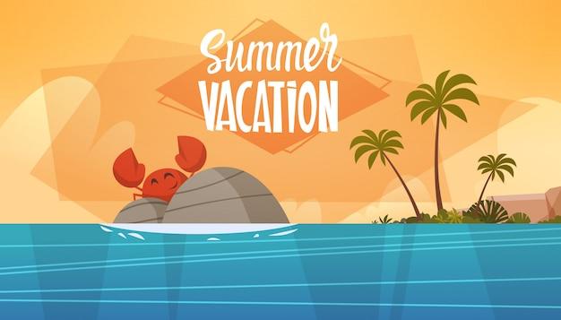 Sommer-ferien-seelandschaftsschöner strand-meerblick-fahnen-küstenfeiertag