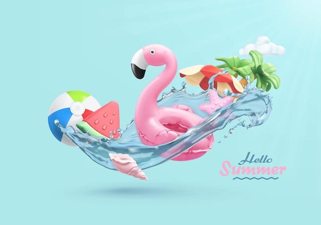 Sommer festliche 3d-karte mit aufblasbarem flamingo-spielzeug, wassermelone, palmen, muschel, wasserspritzer