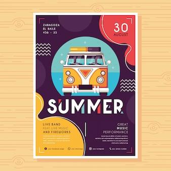 Sommer flache design flyer vorlage