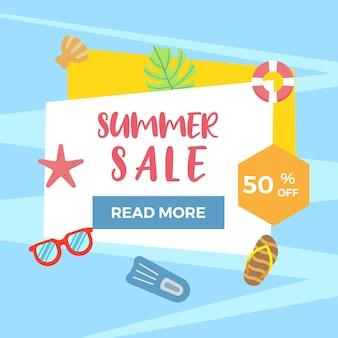 Sommer-flacher verkaufs-hintergrund mit eingestellter ikone