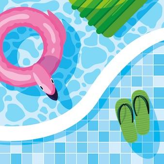 Sommer flamingo schweben