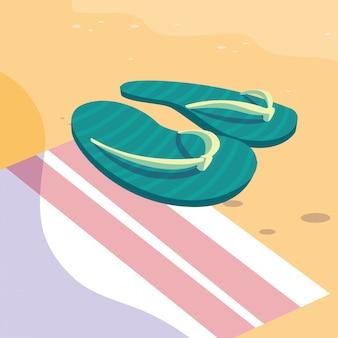 Sommer flip flops über handtuch