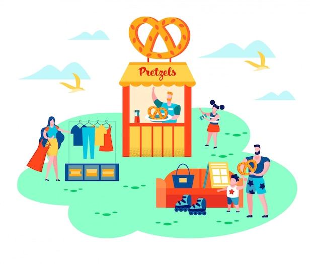 Sommer flohmarkt. fröhliches familienwochenende
