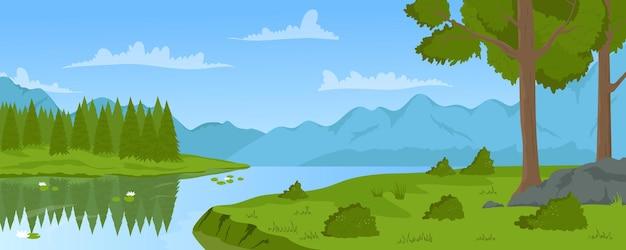 Sommer fluss berg ruhige landschaft natur bäume und grünes gras am ufer flussufer