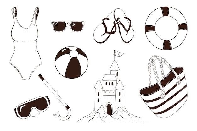 Sommer-freizeitartikel-kollektion. handgezeichnetes zubehör für meeresurlaubsaktivitäten. schnorchelbrille, badeanzug, schwimmring, strandball, flip-flops, strandtasche, sandburg und sonnenbrille. premium-vektor