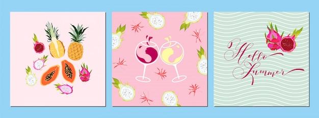 Sommer fruchtiges kartenset. tropische früchte und wein banner, druckdesign. hand gezeichneter kalligraphietext. hallo sommerkonzept. gruß, einladungssammlung. kunst. trendige illustration.