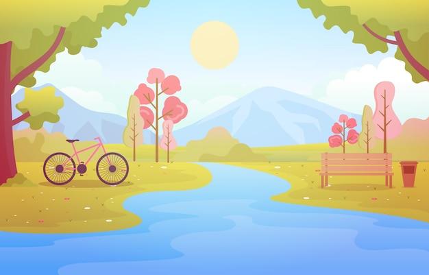 Sommer-frühlings-ansicht in stadt-park-landschaftsflache illustration im freien