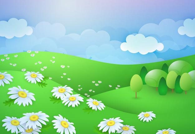 Sommer gänseblümchen feld