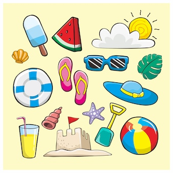Sommer gekritzel illustration element icon set