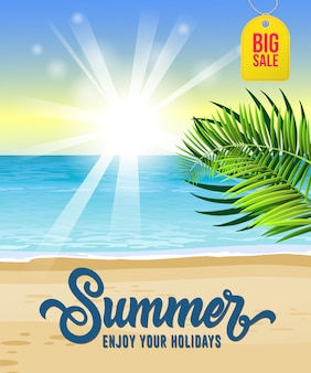 Sommer genießen sie ihre ferien, großes verkaufsplakat mit meer, tropischer strand, sonnenaufgang