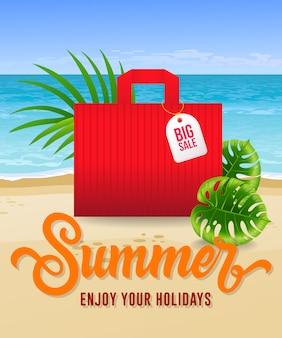 Sommer genießen sie ihre ferienbeschriftung mit seestrand und einkaufstasche.