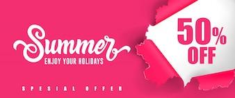 Sommer Genießen Sie Ihren Urlaub Fünfzig Prozent weniger Schriftzug.